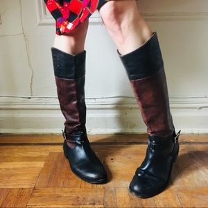 .:. Vince Camuto Two Tone Leather Riding Boots.:.